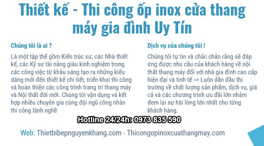 Thi cong op inox cua thang may gia dinh